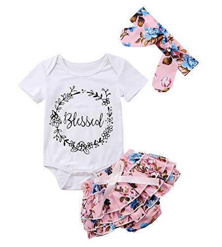 Infant Baby Girls Floral Outfit Set Blessed Print Romper Floral Ruffle Shorts Clothes with Headband (Pink, 0-6 Months) -
