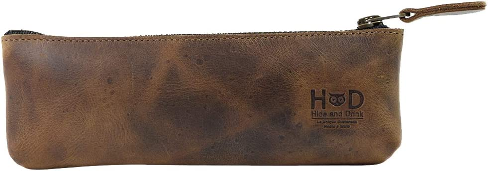 Hide /& Drink Student /& Professionals Essentials Handmade Includes 101 Year Warranty :: Bourbon Brown Classic Work Accessories Carry On Pouch Handy Pen Case Durable Leather Pencil Pouch