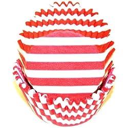CakeSupplyShop CK8YU - 50Pack Red & White Stripes & Swirl Carnival Standard Cupcake Baking Cup Liners