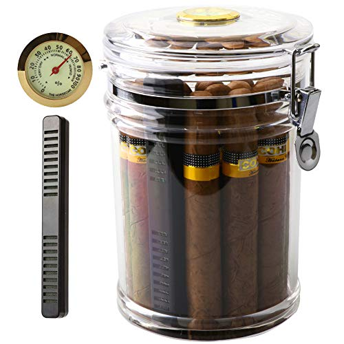 XIFEI Acrylic Humidor Jar with Humidifier and Hygrometer,humidor That can Hold About 18 Cigars (Clear) (Best Hygrometer For Humidor)