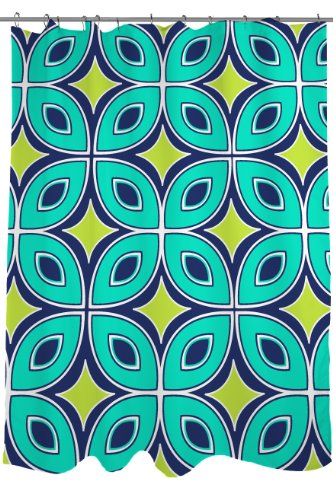 Manual Woodworkers & Weavers Fabric Shower Curtain, Blue and Green Lorraine (Blue Green Links)