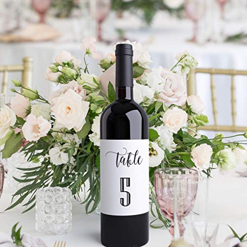 Wedding Table Numbers Wine Bottle Labels Peel & Stick Wedding Place Card Centerpiece Seating Arrangement Board Favor Alternative | Wedding Reception or Party Decor Made in USA -