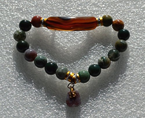 Indian Agate Bracelet Beaded Bracelet Healing Wrist Bracelet Bangle - Approx. 8 mm Round Gemstones Beads - USA SELLER