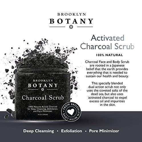 Premium Activated Charcoal Scrub 10 oz - For Deep Cleansing & Exfoliation - Pore Minimizer & Reduces Wrinkles, Acne Scars, Blackhead Remover & Anti Cellulite Treatment - Body Scrub & Facial Cleanser by Brooklyn Botany (Image #6)