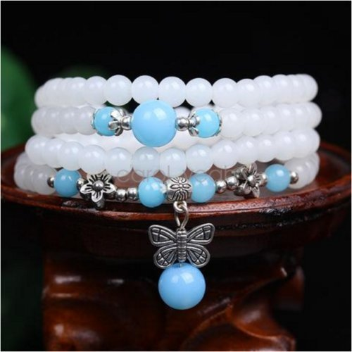 - 6MM Blue white chalcedony multilayers butterfly charm beaded bracelet necklace