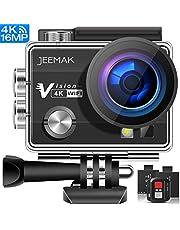 JEEMAK Action Cam 4K WiFi Fotocamera Subacquea Digitale 20MP Ultra HD Videocamera Impermeabile 40M EIS Stabilizzazione con Doppia 1050mAh Batterie e Kit di Accessori Compatibile con gopro