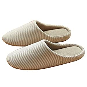 Kaimao Soft Cotton Unisex Slippers Washable Slip on Indoor Stripe Slippers with Slip-Resistant Suede Sole -- M Size Beige