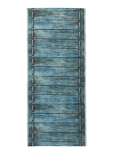 "All Design Mats Cushioned Non-Slip/Rubber Backing Wood Print Aqua Runner/Doormat, Easy Cut to Fit in Your Hallway, Bathroom or Kitchen, 26"" W x 48"" L, Blue"