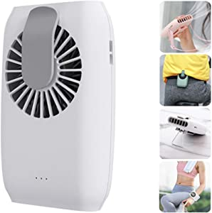 Hands Free Neck Fan Waist Clip on Fan Personal Cooling Fan Rechargeable 3 Speed Mini Fan with Adjustable Necklace Desktop Bracket Wristband for Office Travel Riding Fitness Hiking (White)