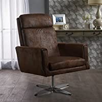 Hooper Swivel Arm Chair | Perfect for Home Office or Living Room | Modern Design | Distressed Microfiber in Brown