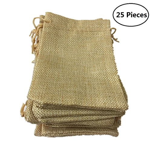 Tsuen 25 Pcs Burlap Bags with Drawstring Gift Bags for Wedding Party, Arts and Crafts Projects, Jewelry Pouches, Candy Bags, Birthday Parties Shower Christmas Favor, Lots of 25 (Beige) by Tsuen