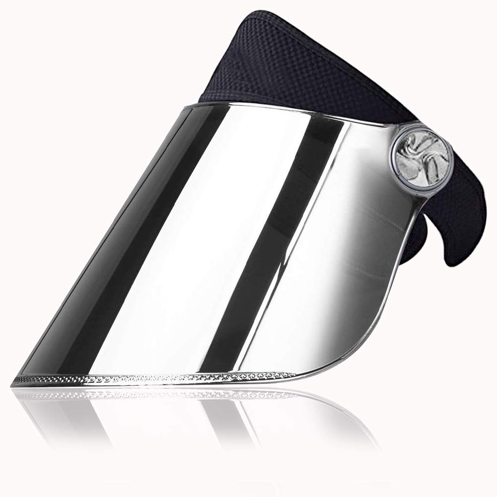 WAYCOM Sun Cap, Sun Visor Hat Black & Silver- UV Protection Hat - Headband Solar Face Shield Hat for Hiking, Golf, Tennis, Outdoors (Black & Silver)