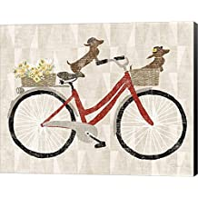 Doxie Ride ver I Red Bike by Sue Schlabach Canvas Art Wall Picture, Museum Wrapped with Black Sides, 25 x 20 inches