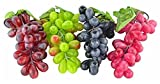 grapes decoration - sexyrobot 4 Pcs Artificial Lifelike Simulation Grapes, Fake Fruit Home House Display Decoration, Green & Purple