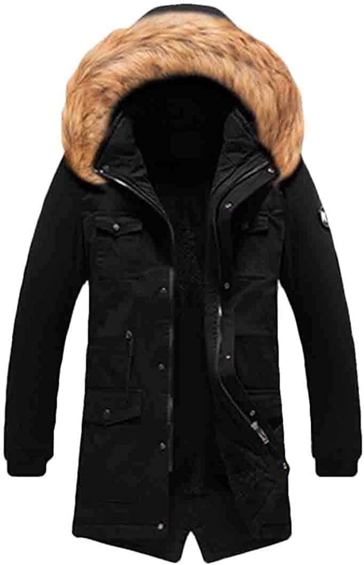 xiaohuoban Mens Faux-Fur Hood Coat Outdoor Thick Hood Quilted Down Jacket