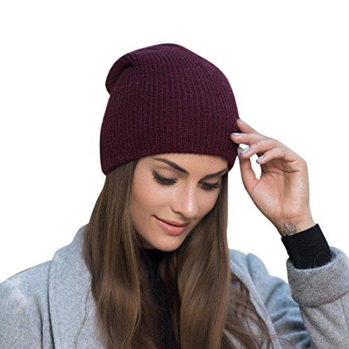 Mchoice Women Warm Baggy Weave Crochet Winter Wool Knit Ski Beanie Caps Hat (Wine)