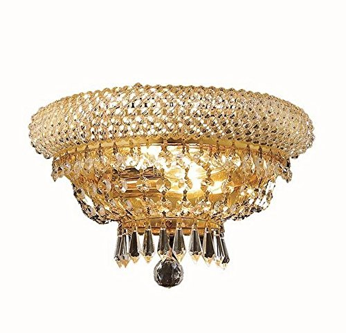 "Elegant Lighting 1803W12G/RC Primo 2-Light Wall Sconce, Finish with Crystal (Clear) Royal Cut RC Crystal, 8""H, Gold from Elegant Lighting"