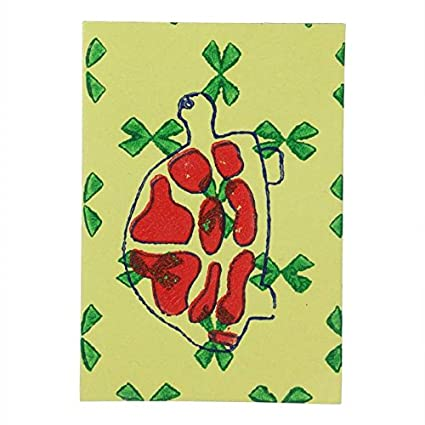 Literacy India Indha Turtle Block Print Party And Celebration Greeting Card Set Of 5