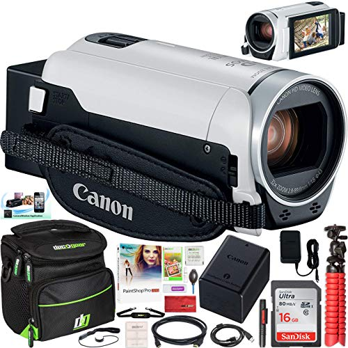 Canon VIXIA HF R800 Camcorder (White) Full HD Video Camera 1920 x 1080 with 57x Zoom 3.28 Megapixel CMOS Image Sensor Bundle with Deco Gear Travel Pro Accessory Case + Compact Tripod + Software Kit