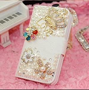 Luxury 3D Fashion Bling Diamond Flower Crown PU Flip Leather Case Cover For Smart Mobile Phones (LG Optimus G Pro2 D838)