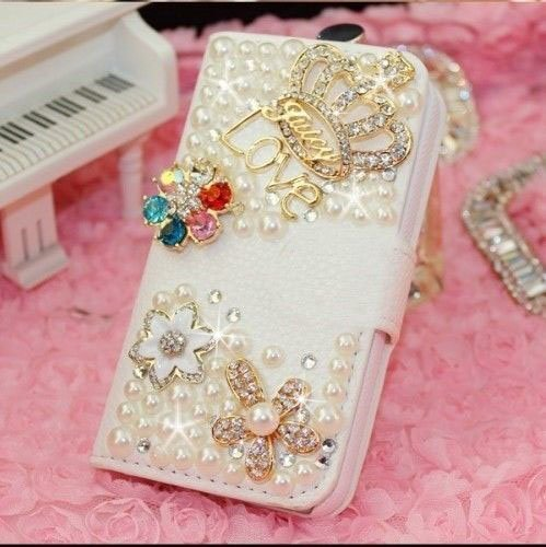 White Luxury 3D Fashion Handmade Bling Diamond PU Flip Leather Case Cover For Smart Mobile Phones 8 ( ALCATEL One Touch Fierce 2 7040T / Pop Icon A564c , Crown )