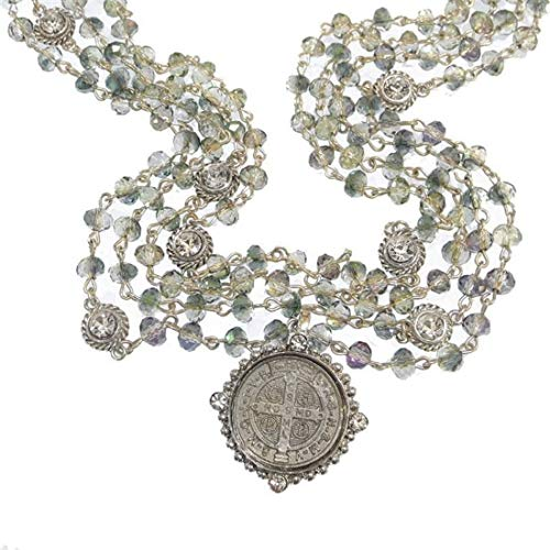 Virgins Saints & Angels San Benito Magdalena Necklace 6mm Silver Blue Lagoon