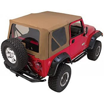 rampage jeep 68817 complete replacement soft top with frame and hardware