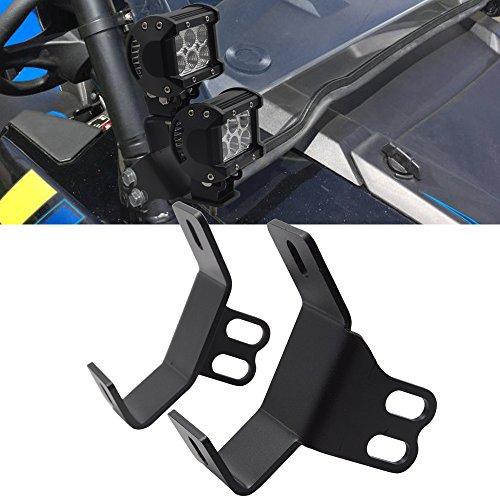 DaSen Side Pillar Roll Bar LED Work Light Below Windshield Mounting Brackets Fits 2014-2017 Polaris RZR XP 1000 (Side Roll Bar Mount)