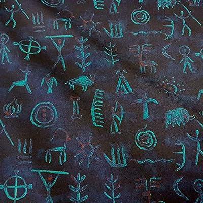 Tela de Tela de Werthers, por Metros, de algodón, Azul y Negro, Colores neón, diseño de Cuevas: Amazon.es: Juguetes y juegos