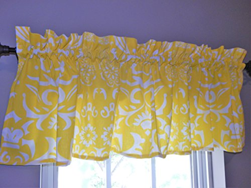 Patterned Window Valance - 16 x 60 - 100% Cotton (Empire Yellow Vintage Royalty) (Kitchen Valance Yellow compare prices)