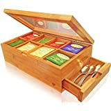 Best Bamboo Tea Box Natural Chest with Clear Hinged Lid, 8 Storage Sections with Expandable Drawer