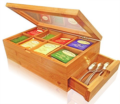 - SOLID 100% BAMBOO Tea Box Natural Chest with Clear Hinged Lid, 8 Storage Sections with Expandable Drawer