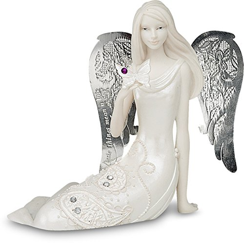 Little Things Mean A Lot February Monthly Angel Figurine, 3-1/2-Inch, Includes Gemstone on Butterfly