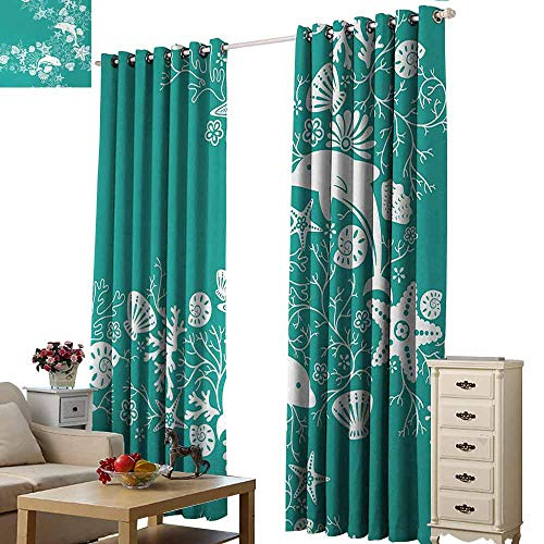 (Homrkey Decor Curtains Sea Animals Dolphins Flowers Sea Life Floral Pattern Starfish Coral Seashell Wallpaper Thermal Insulated Tie Up Curtain W96 xL108 Sea Green White)
