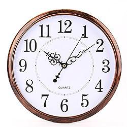 Bekith 12 inch Retro Non Ticking Silent Quartz Decorative Wall Clock