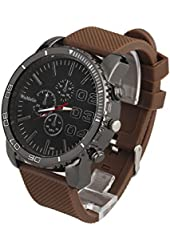 ShoppeWatch Mens Big Face Watch 50mm Black Dial Silicone Band Reloj para Hombre Brown SW1091BR