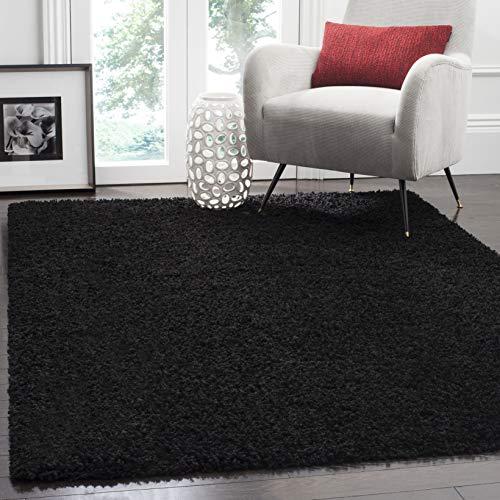(Safavieh Athens Shag Collection SGA119K Black Area Rug (6' x 9'))