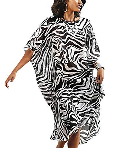(Ailunsnika Women Chiffon Zebra Stripe O Neck Batwing Sleeve Kaftan Swimwear Cover Up Turkish Beach Dress)