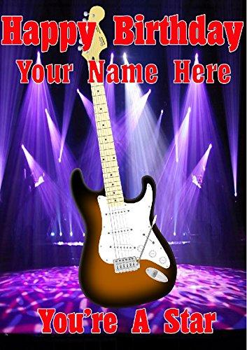 Sunburst guitarra Strat cptmi27 feliz cumpleaños A5 Tarjeta de felicitación personalizadas publicado por nosotros Regalos para