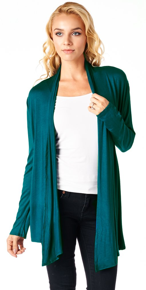 Popana Women's Open Front Drape Lightweight Cardigan Long Sleeve Made In USA X-Large Teal