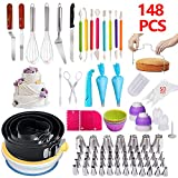 Cake Decorating Supplies,148 PCS Complete Baking Set with 4 Packs Springform Pan Sets,136 PCS Decorating Kits and 8 Silicone Cupcake Molds, Perfect Cake Baking Supplies for Beginners and Cake Lovers.