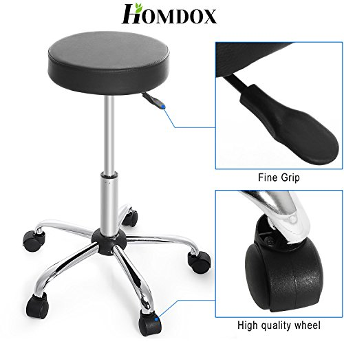 Homdox rolling stool with adjustable height and 360 degree for 360 degrees salon