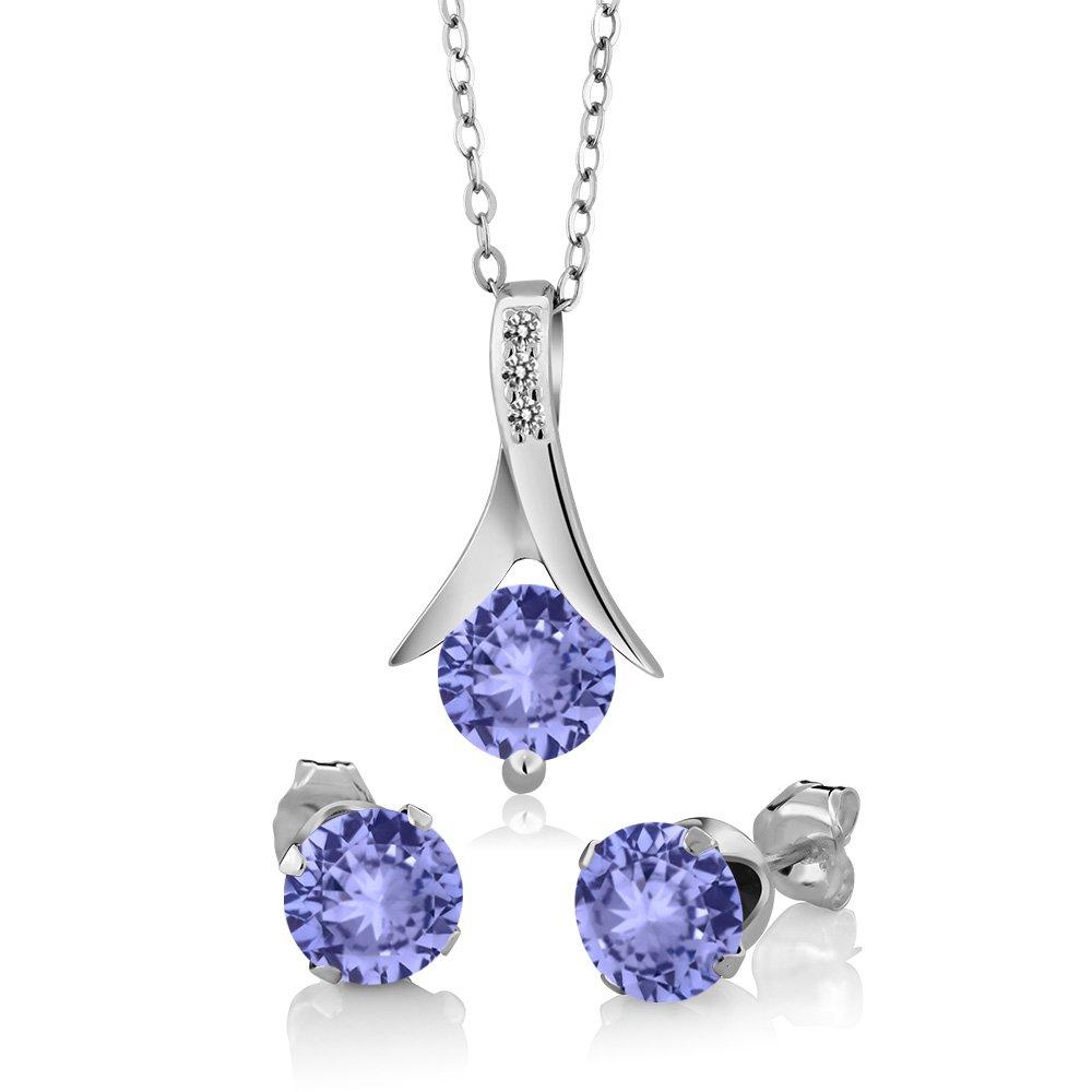 2.75 Ct Blue Tanzanite White Diamond 925 Sterling Silver Pendant Earrings Set by Gem Stone King