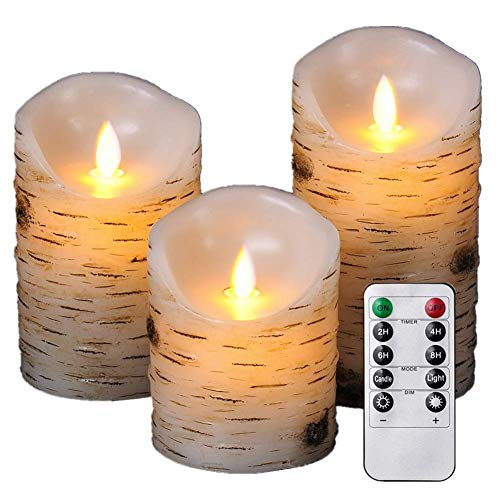Enpornk ZW10003 Flameless Candles with brich Effect 4' 5' 6' Set of 3 Dripless Real Wax Pillars...