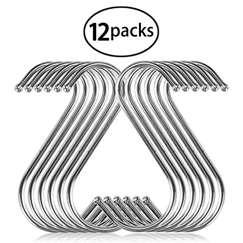 12 Pack S Hooks, YBWM S Shaped Anti-Rust Stainless Steel Metal Hooks Hanger for Kitchen, Work Shop, Bathroom, Garden Hanging Clothing, Bags, Kitchen Utensil, Cutting Boards, Pots and Pans from YBWM