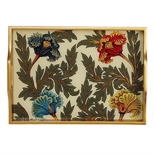 Reverse Painted Glass Serving Tray 'Floral Antiquity Tray'