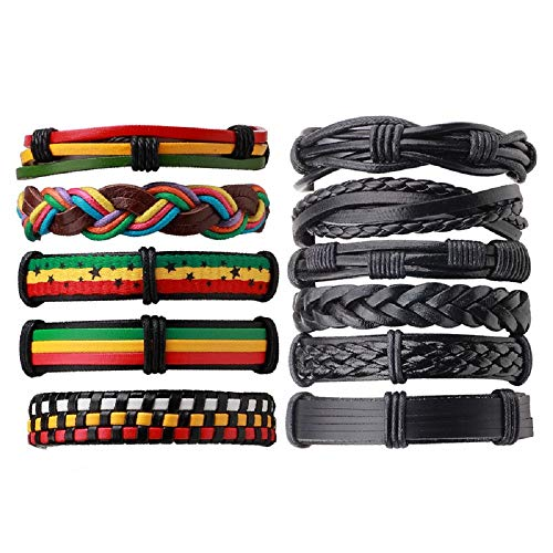 MJartoria Unisex Leather Hemp Cords Beaded Multi Strands Wrap Bracelets Set (Black+Colorful 10)