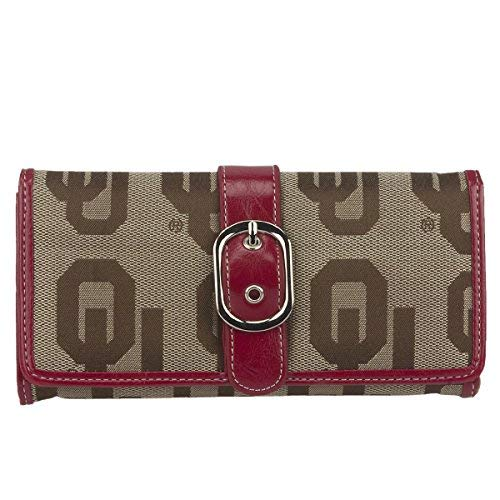 SANDOL Oklahoma Sooners Jacquard Fabric Leather Ladies Wallet (Oklahoma Card Logo Credit)