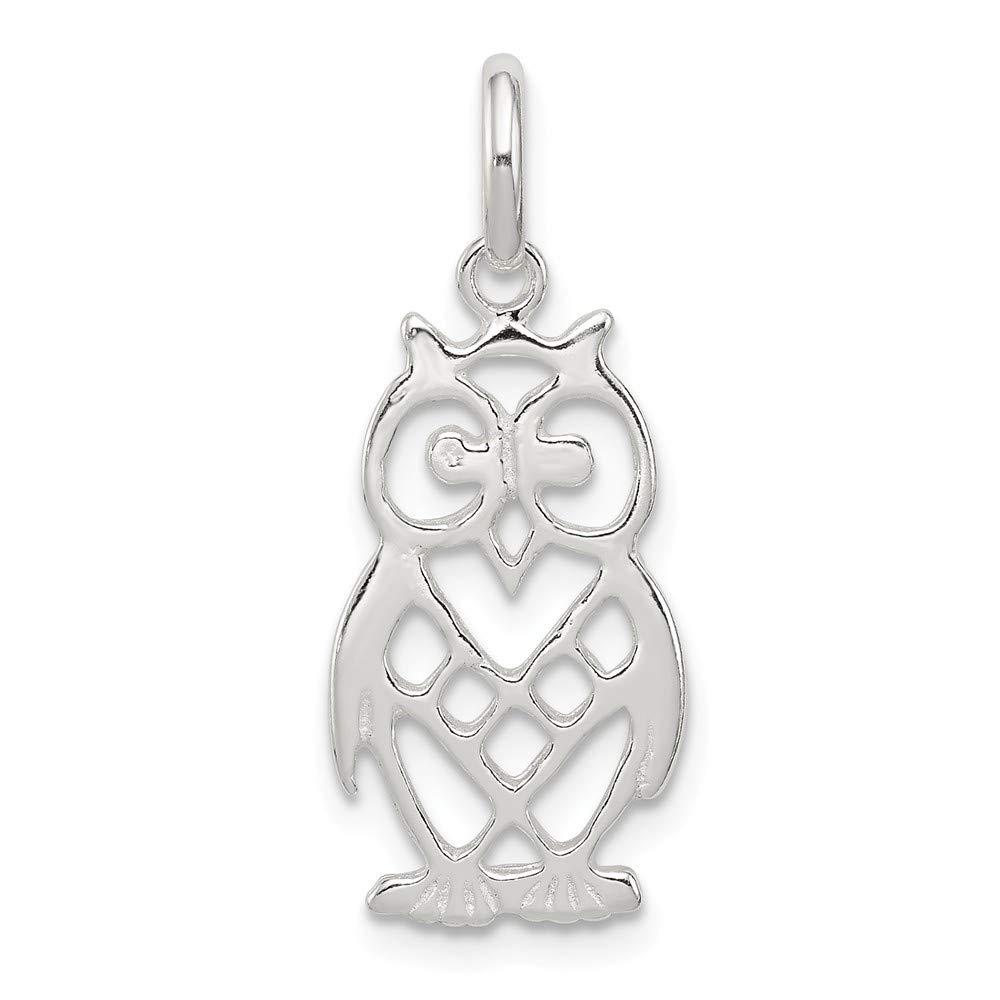 11mm x 21mm Jewel Tie 925 Sterling Silver Owl Pendant Charm