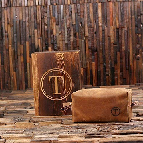 Personalized Brown Leather Toiletry Bag or Dopp Kit with Optional Wooden Gift Box ()